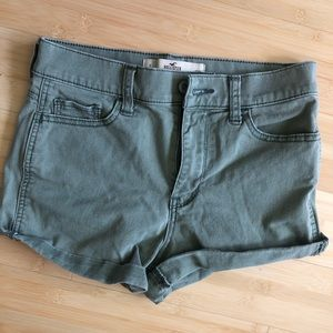 Sage-green high rise short shorts